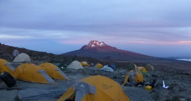 Sunset over Mowensi Peak and camp